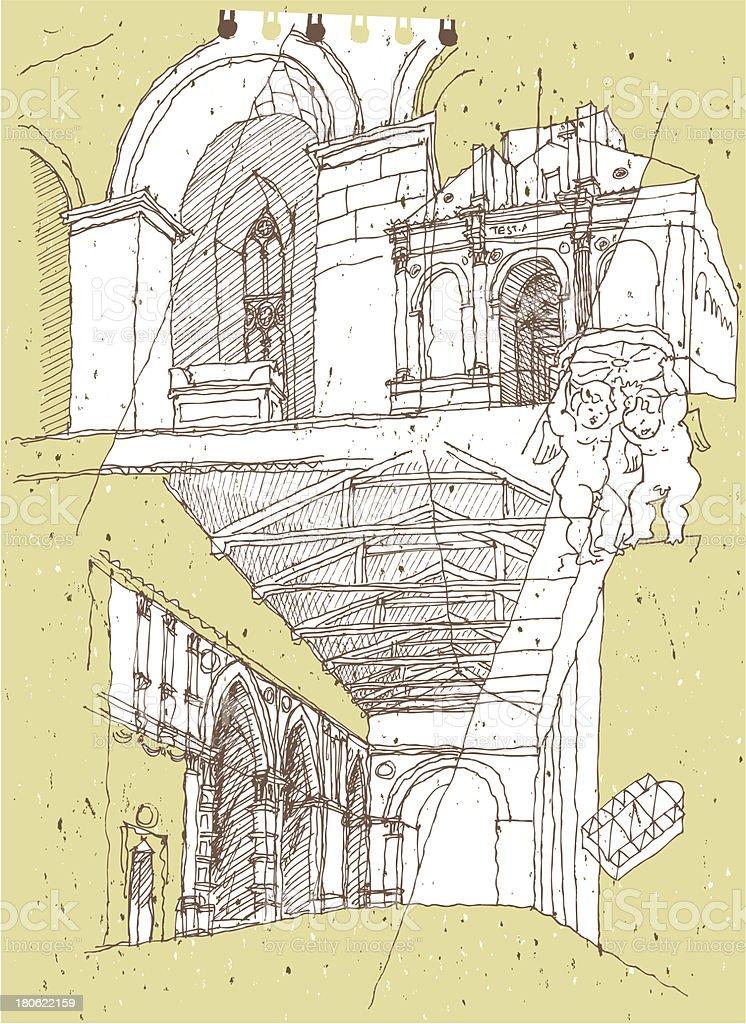 Zeichnen historische architektur in italien rimini stock vektor art und mehr bilder von - Architektur zeichnen ...