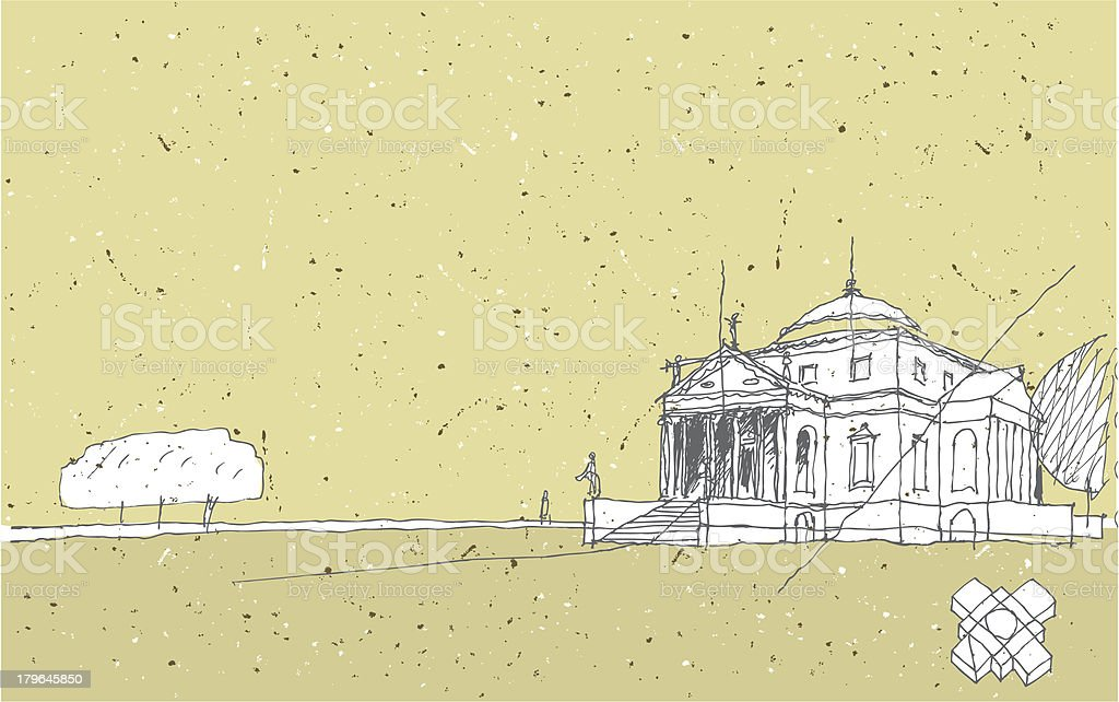 Sketching Historical Architecture in Italy: Villa Rotunda royalty-free stock vector art