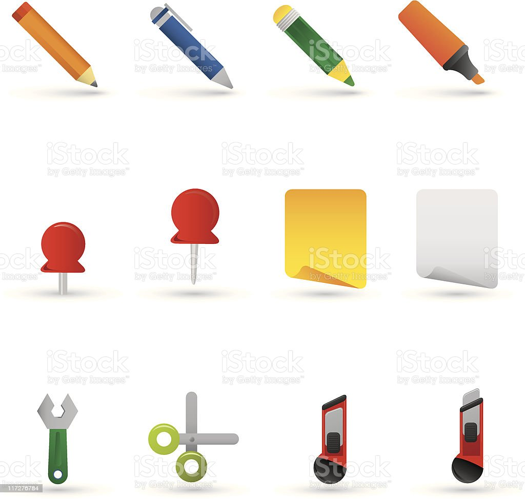 sketching icons, workspace elements vector art illustration