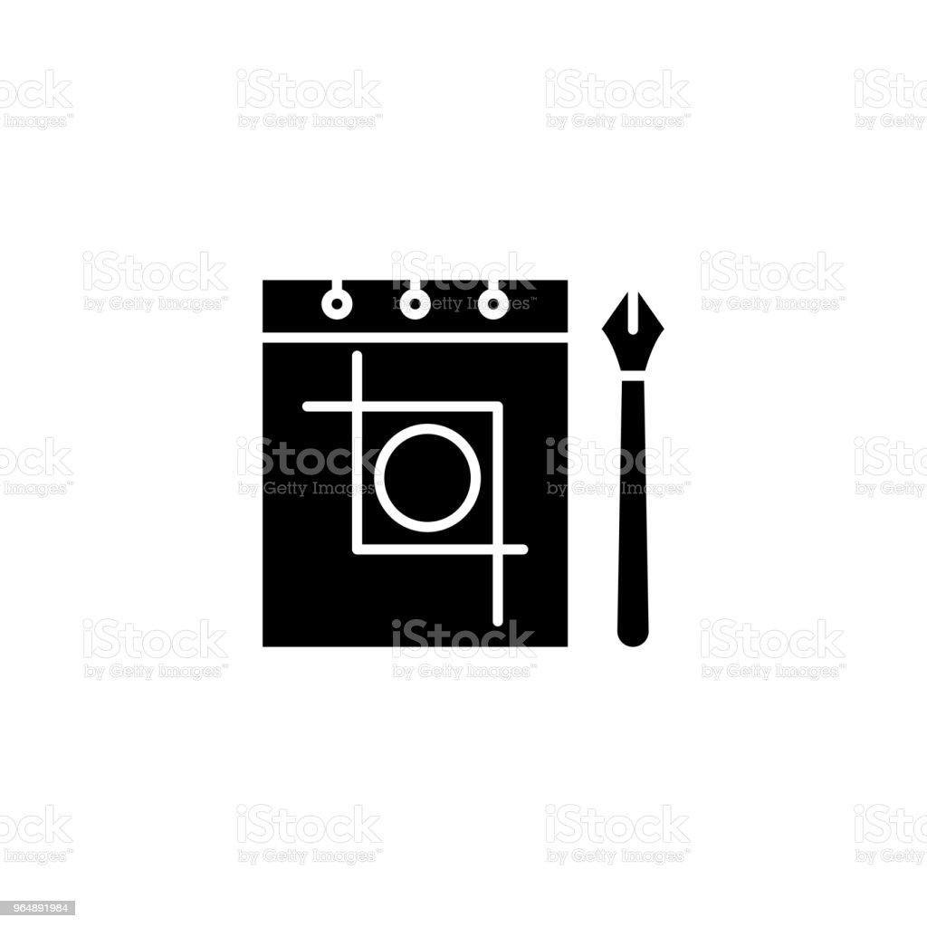 素描筆記本黑色圖示的概念。素描筆記本平面向量符號, 符號, 插圖。 - 免版稅一組物體圖庫向量圖形