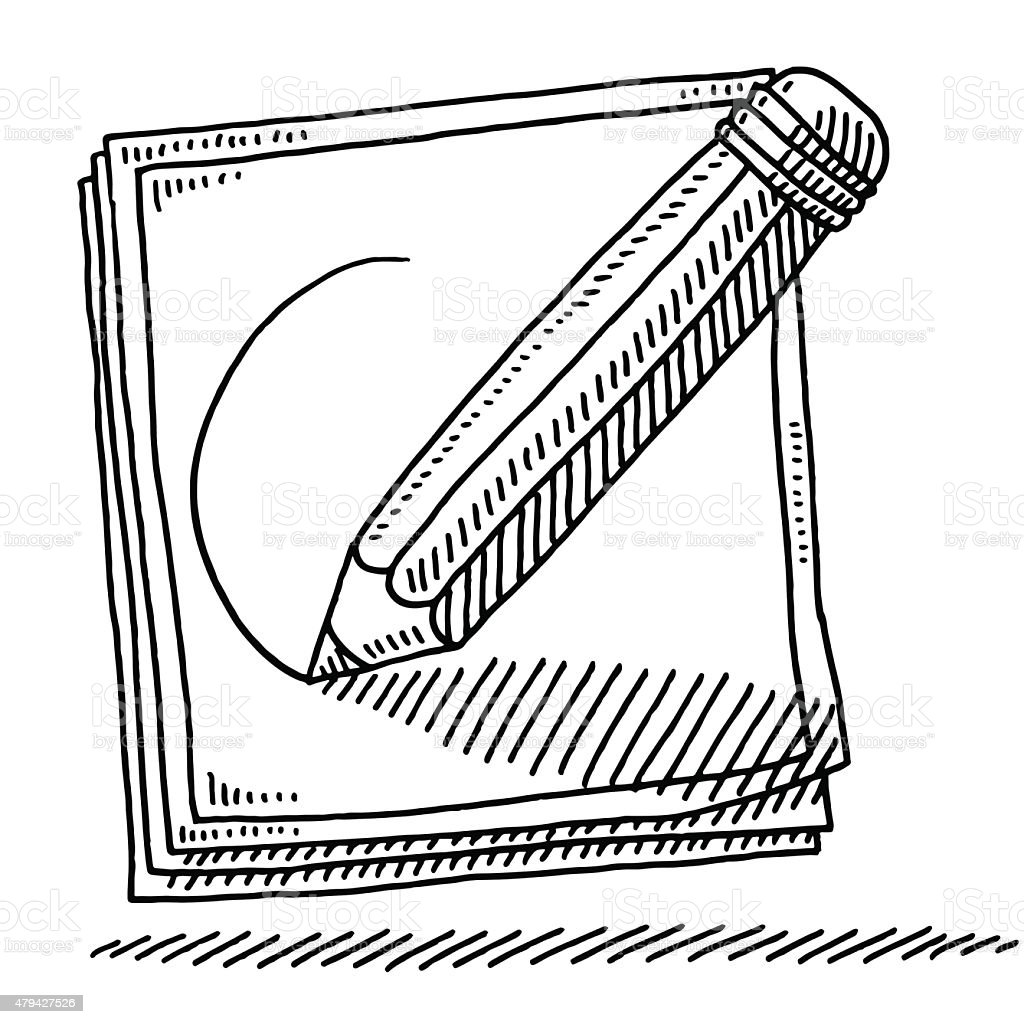 sketching pencil on paper drawing stock vector art & more images of