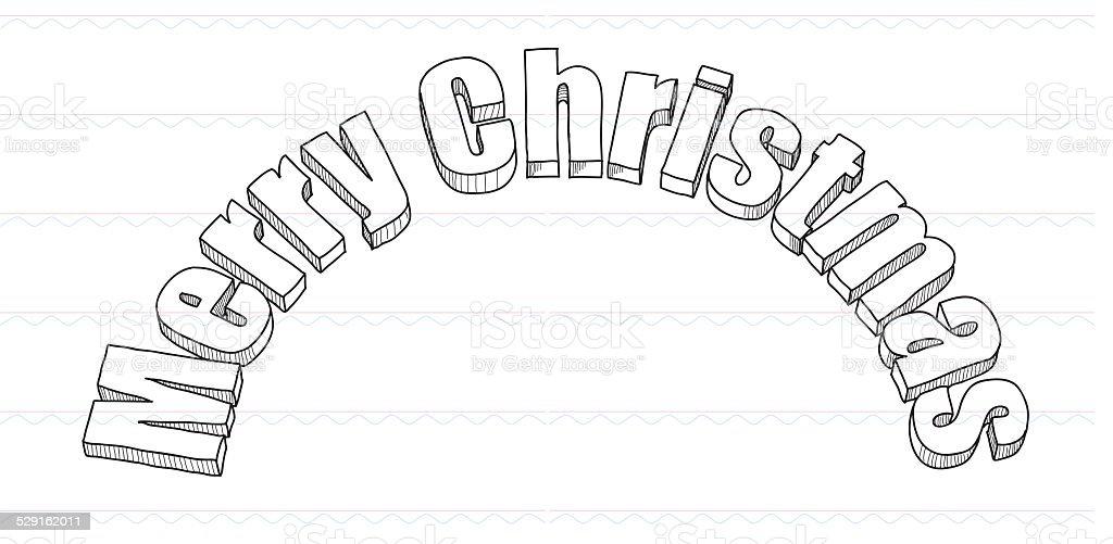 Skizze Frohe Weihnachten Weihnachten Wish Stock Vektor Art und mehr ...