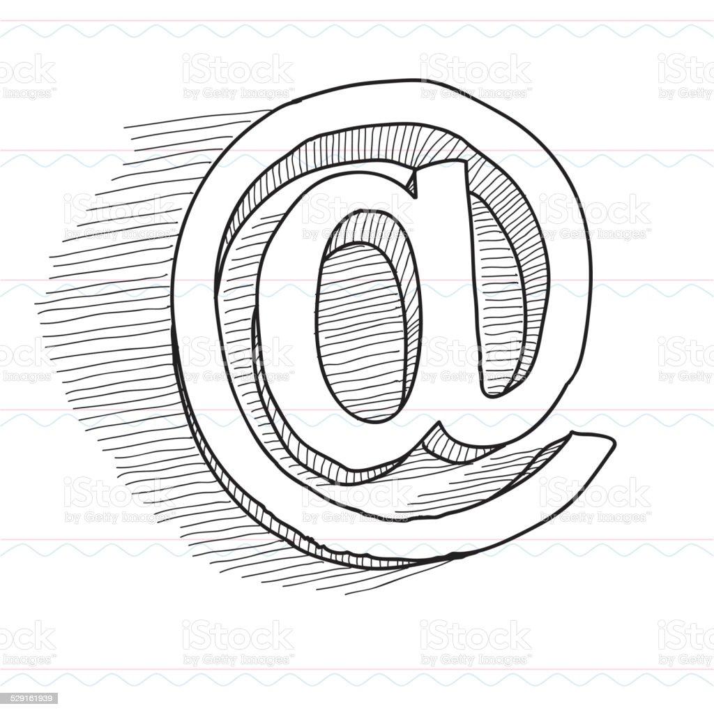 Croquis, réseau, symbole @ - Illustration vectorielle