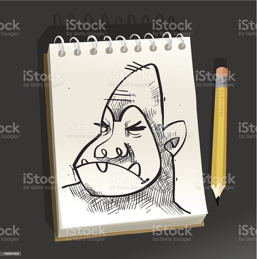 Sketchpad - Angry Monkey vector art illustration