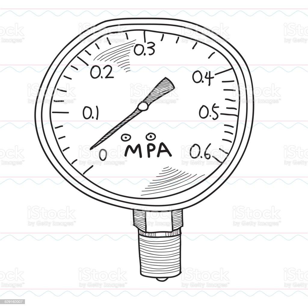 Sketch,Pressure gauge vector art illustration