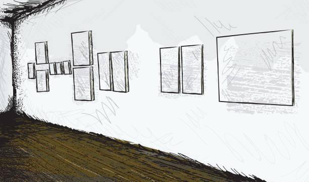 illustrations, cliparts, dessins animés et icônes de esquisse abstrait musée ou une galerie d'art vide intérieur avec peintures - museum