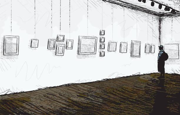 illustrations, cliparts, dessins animés et icônes de esquisse abstrait art gallery et museum - galerie d'art