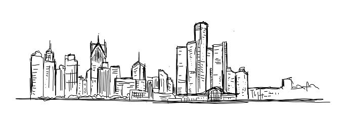 Sketchy and loose drawing of downtown Detroit Michigan USA skyline
