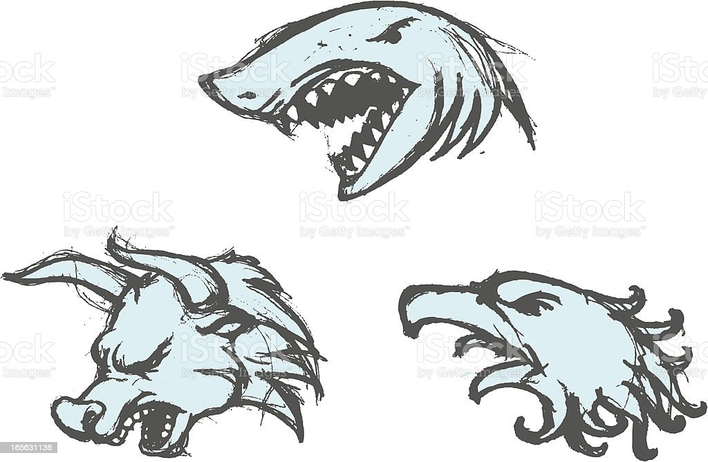 Sketchy Angry Animals vector art illustration