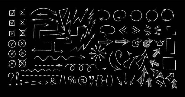 skizzenhafte pfeile und symbole kreide stil gesetzt - kreide weiss stock-grafiken, -clipart, -cartoons und -symbole