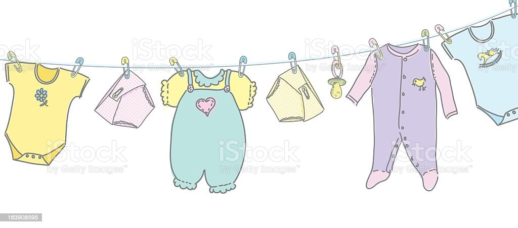 sketchy baby clothes hanging on a clothesline stock vector