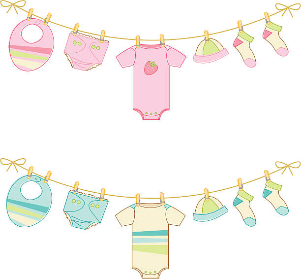 Sketchy Baby clothes on clothesline vector art illustration