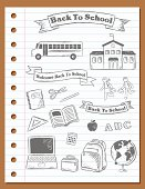 Hand drawn Back To School Banners and Elements on a notebook