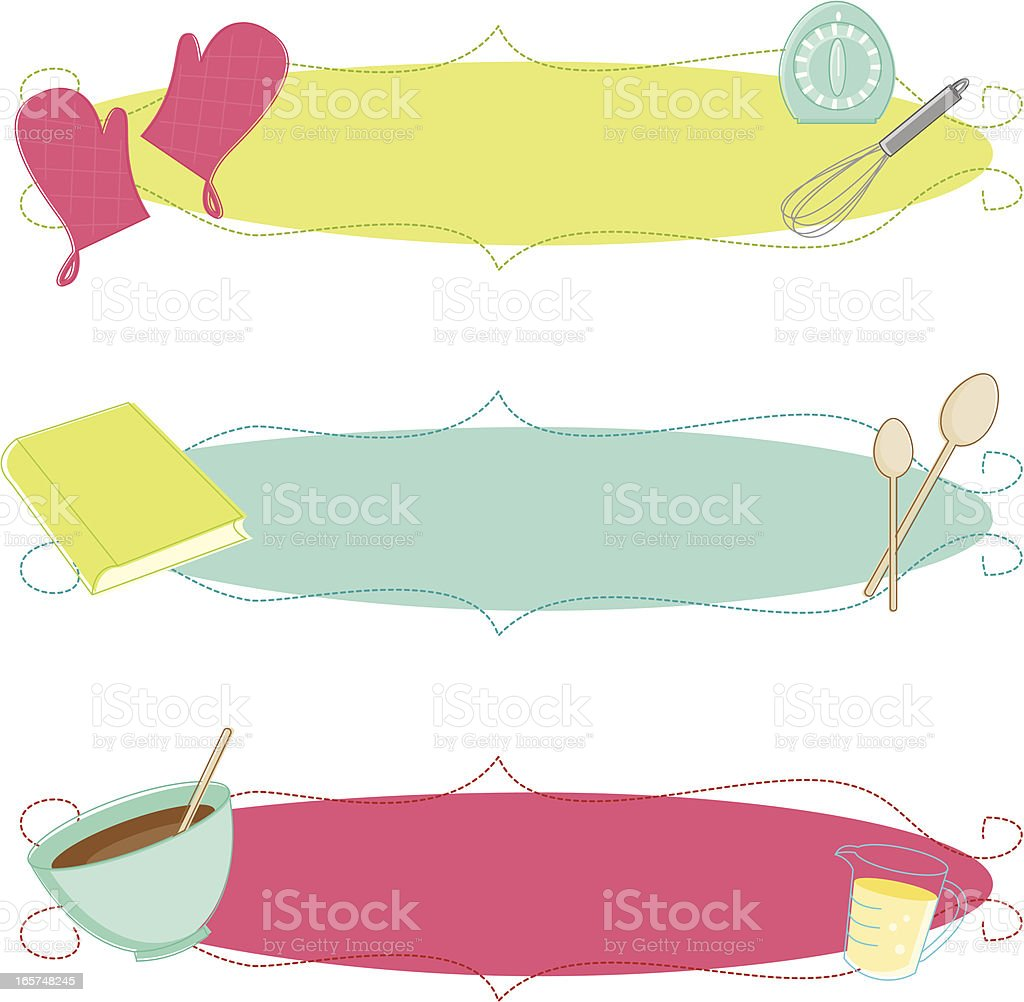 Sketchy Baking Banners vector art illustration