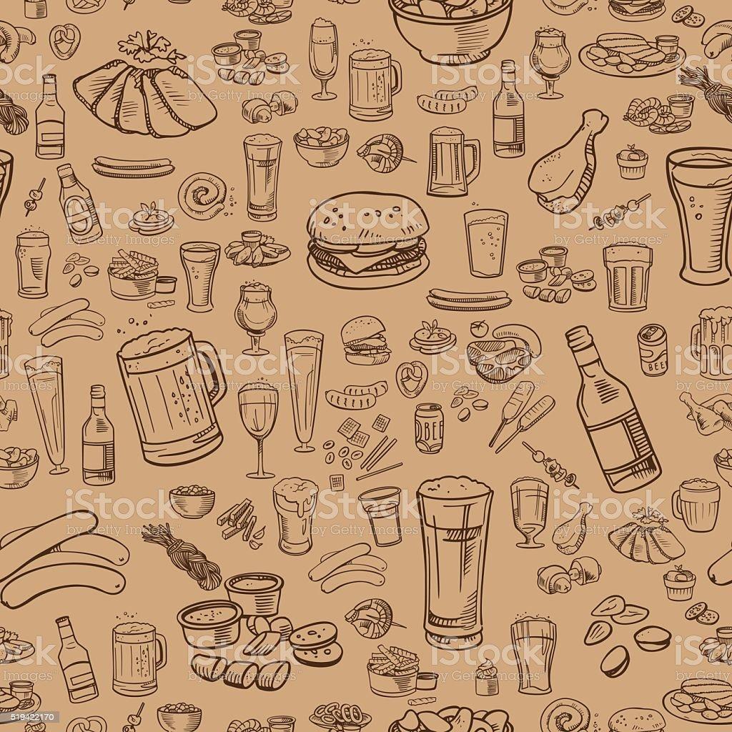 Esboços de cervejas e petiscos, sem costura fundo - ilustração de arte em vetor