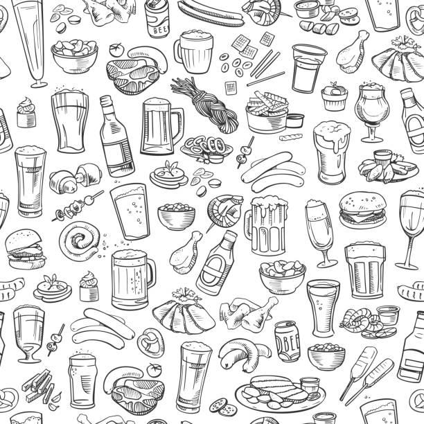 illustrations, cliparts, dessins animés et icônes de croquis de la bière et des en-cas, sans couture, arrière-plan - entrée