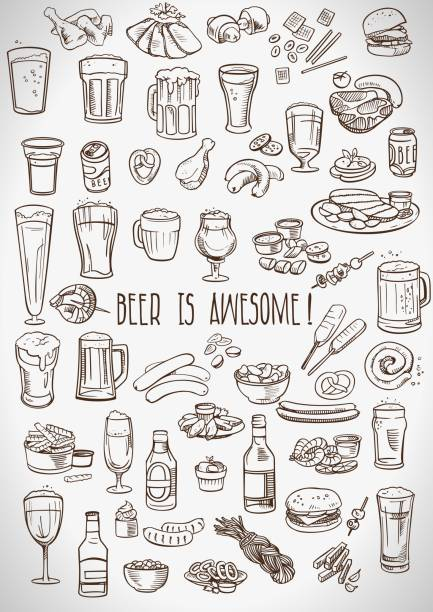 sketchy beer and snacks - alcohol drink drawings stock illustrations