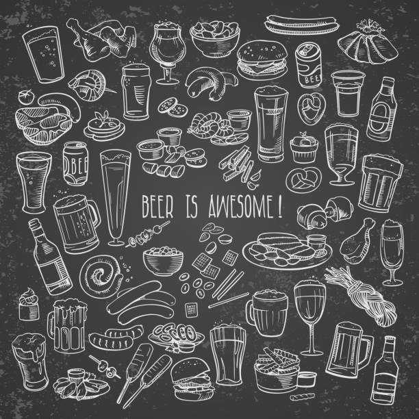 skizzenhafte bier und snacks - wurst stock-grafiken, -clipart, -cartoons und -symbole
