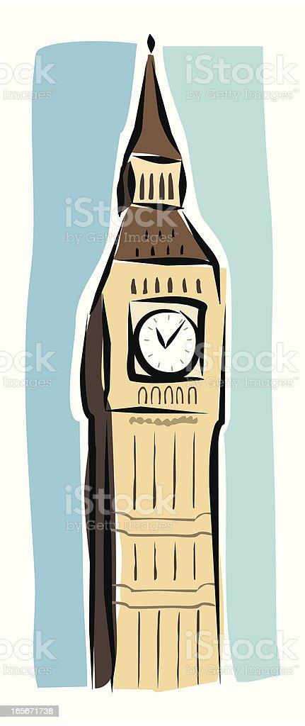 Sketchy Big Ben royalty-free stock vector art