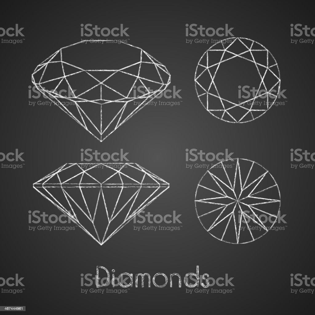 Sketchy chalk-drawn diamond icons vector art illustration
