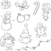 Christmas icons hand drawn in Illustrator with brush and pencil stroke.  Lines only, no fill, image is transparent.