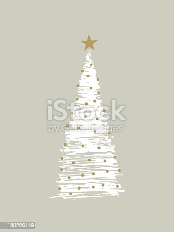 sketchy christmas tree with christmas lights, snow and with a star on top. You can edit the colors or sizes easily if you have Adobe Illustrator or other vector software. All shapes are vector