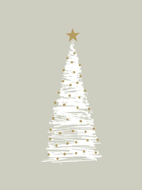 stockillustraties, clipart, cartoons en iconen met schetsmatige kerstboom - kerstboom