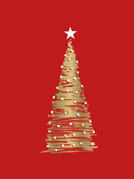 sketchy christmas tree vector art illustration