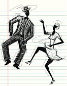A sketchy couple dancing on notebook paper. The artwork and paper are on separate labeled layers.
