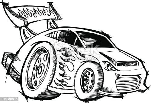 Sketchy Doodle Hotrod Race Car Stock Vector Art Amp More