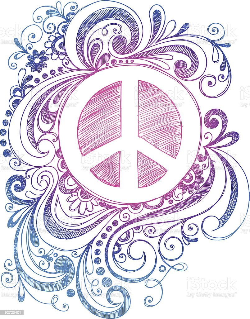 Sketchy Doodle Peace Sign Vector Illustration Stockvectorkunst En