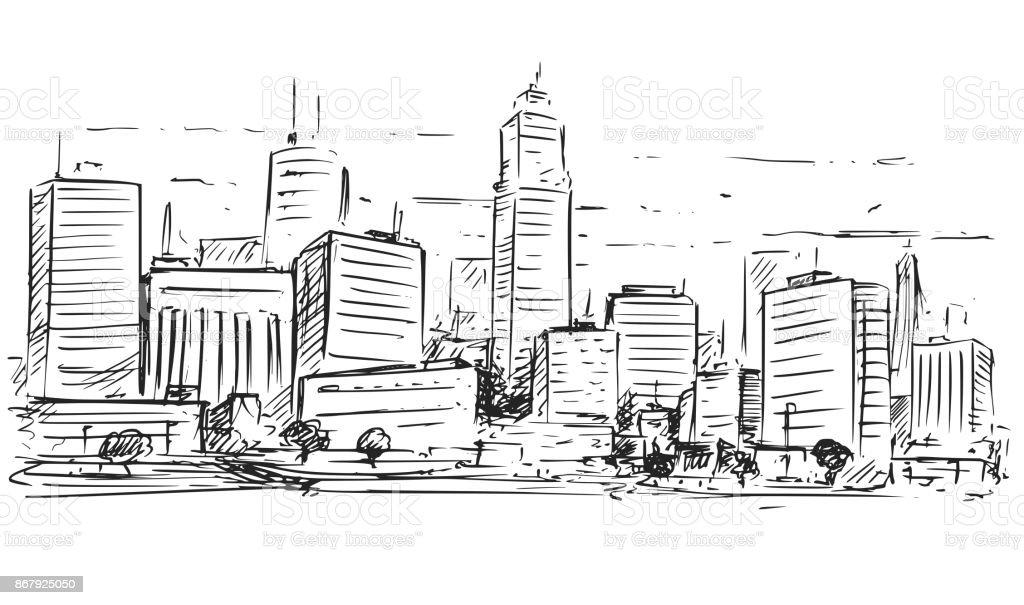 Skizzenhafte Zeichnung Der Stadtlandschaft Hochhaus Lizenzfreies Stock Vektor Art Und Mehr