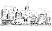 Vector cartoon sketchy drawing of city high rise cityscape landscape with skyscraper buildings.