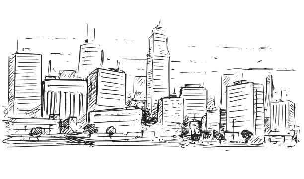 都市高層ビルの風景のスケッチ図面 - 都市 モノクロ点のイラスト素材/クリップアート素材/マンガ素材/アイコン素材