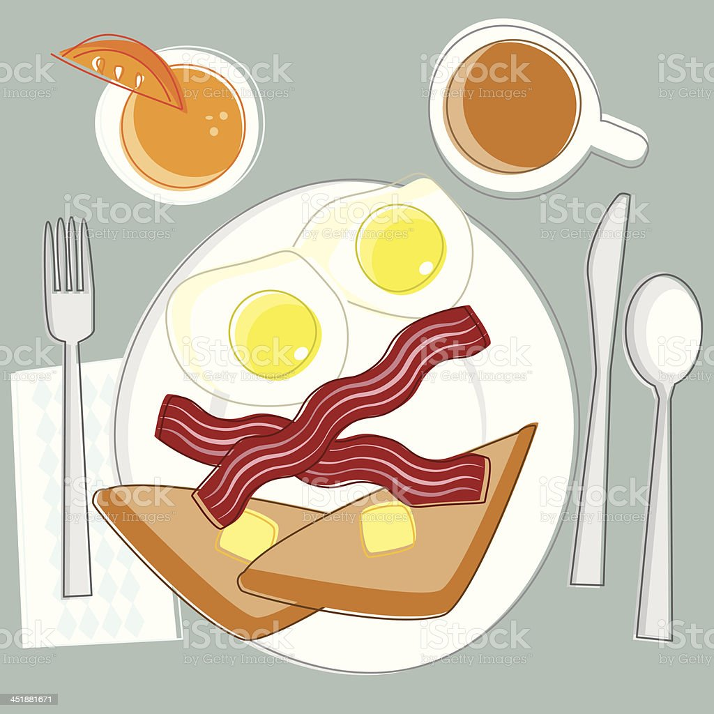 Sketchy Eggs and Bacon Breakfast vector art illustration
