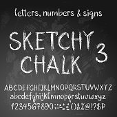 Sketchy chalk alphabet in grunge style. Latin set of letters, numbers and special characters.