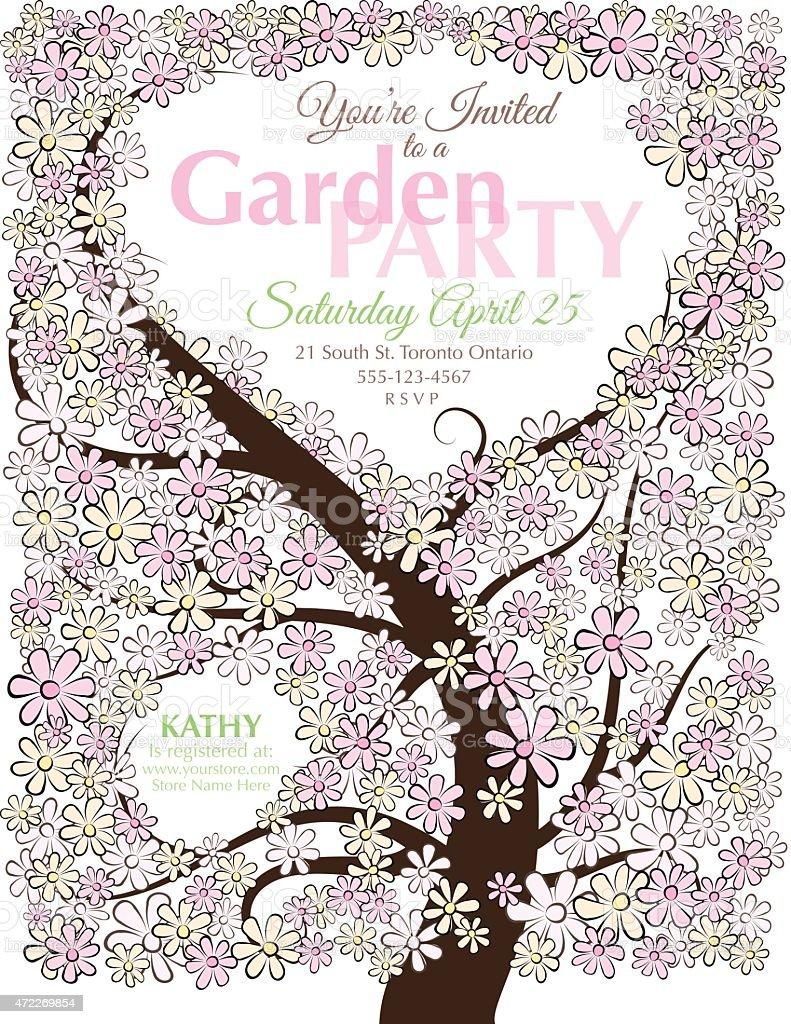 Sketchy Flower Tree Garden Party Invitation vector art illustration