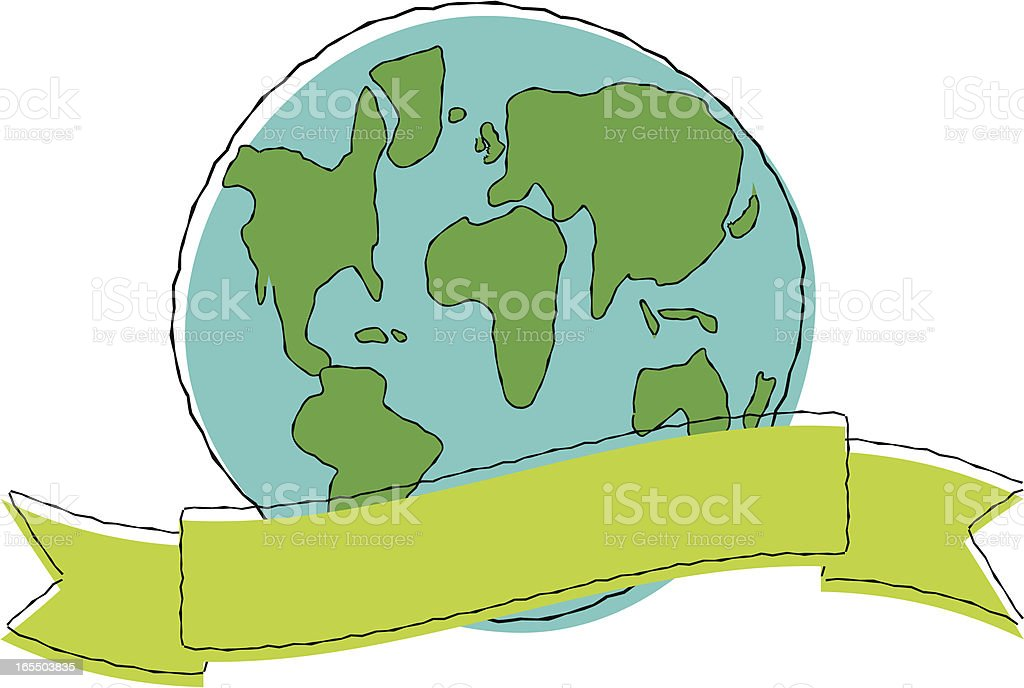 Sketchy Globe with Green Banner vector art illustration