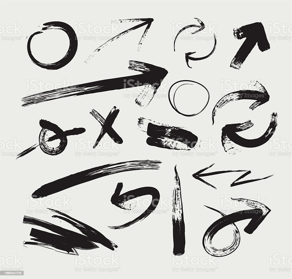 Sketchy Grunge Arrows royalty-free stock vector art