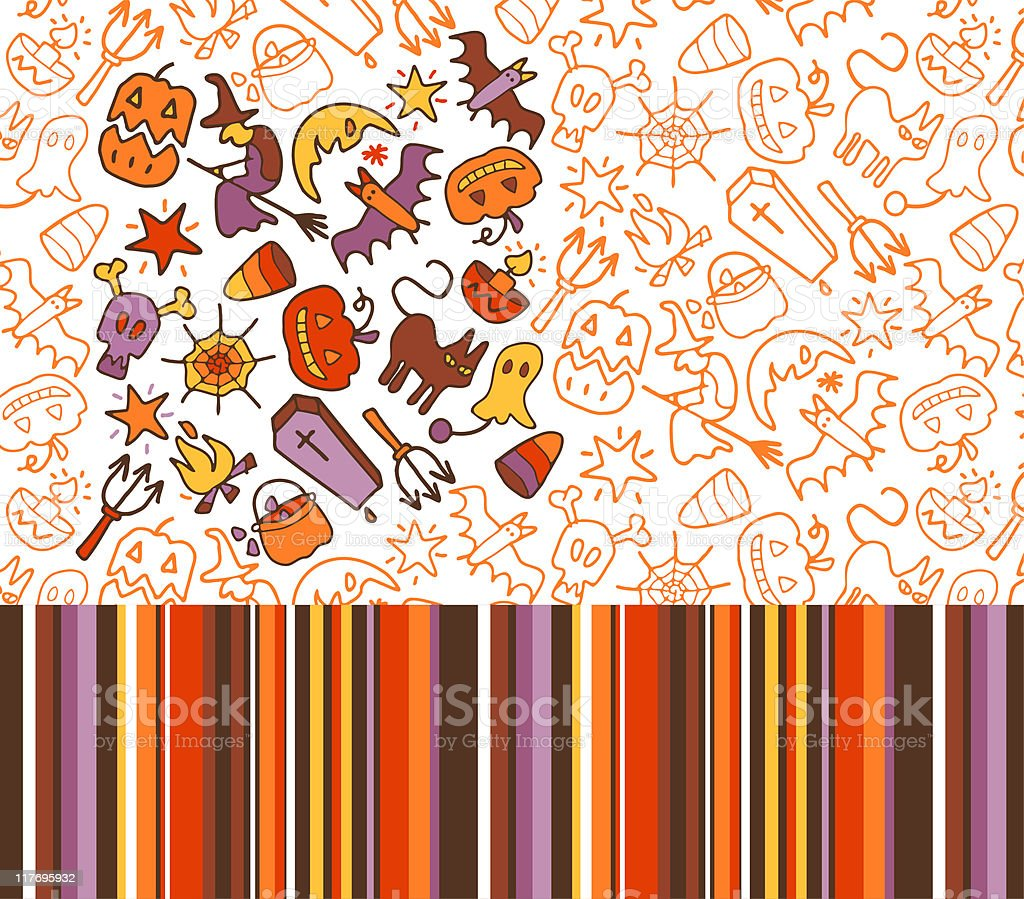 sketchy Halloween patterns royalty-free stock vector art