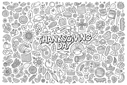 Sketchy hand drawn doodle cartoon set of Thanksgiving objects and symbols