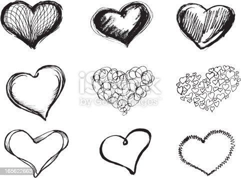 Variations of Heart shape vectorized from my sketch, with high resolution jpg. Visit Portfolio for More Sketch Series Lightbox