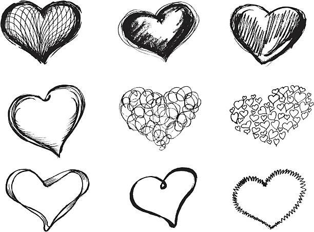 Sketchy Heart Set vector art illustration