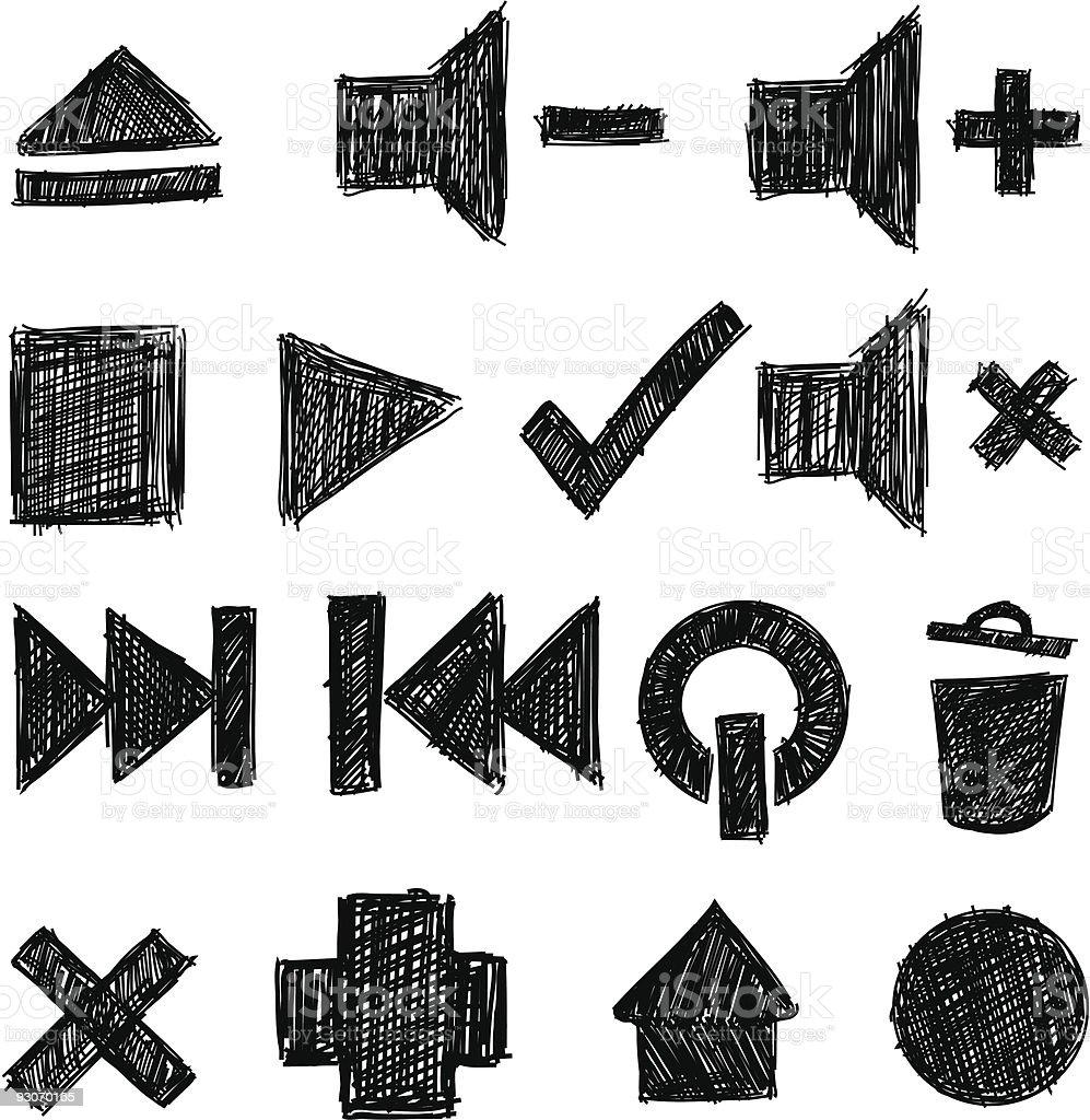 sketchy icon set royalty-free stock vector art