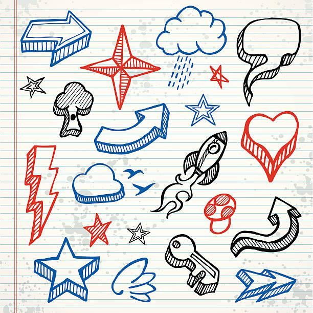 skizzierte symbole - kindersprüche stock-grafiken, -clipart, -cartoons und -symbole