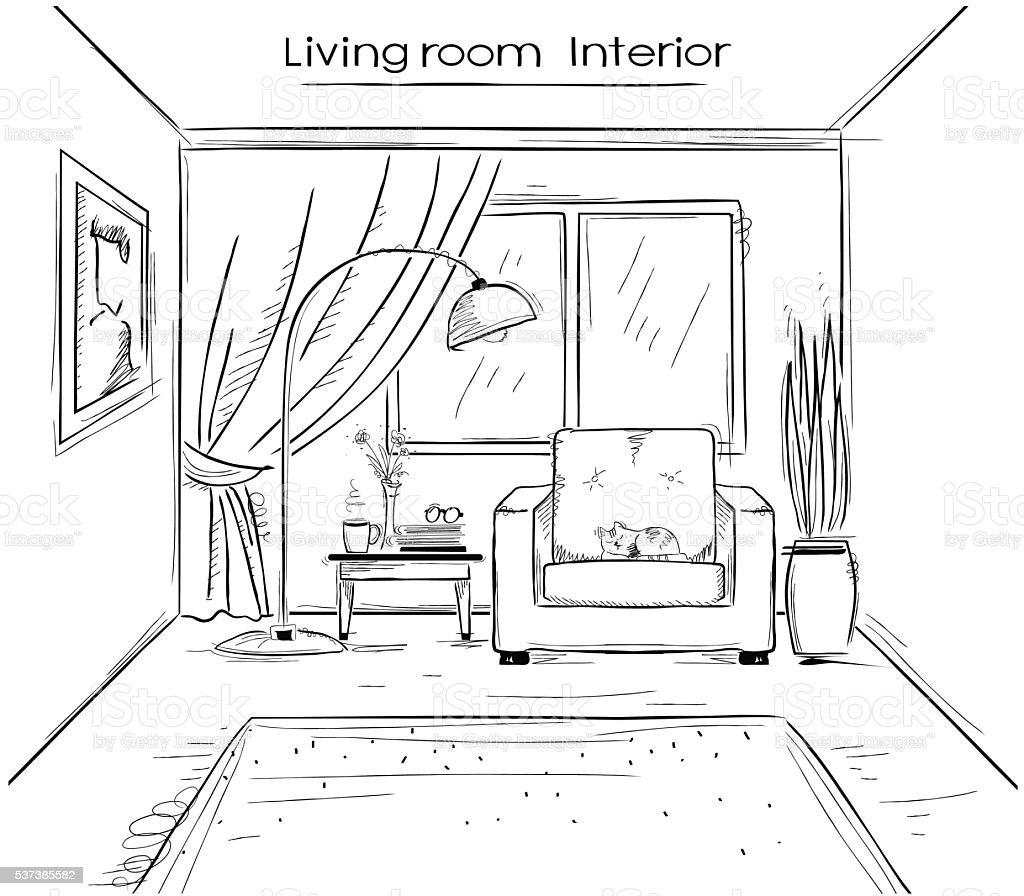 Bocetos ilustraci n de sala de estar en el interior de for Sala de estar dibujo