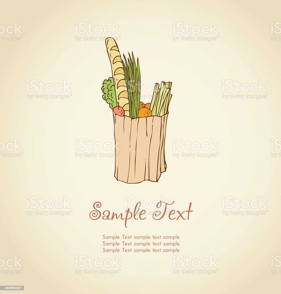 Sketchy image of paper-bag with fruits, vegetables and French bread