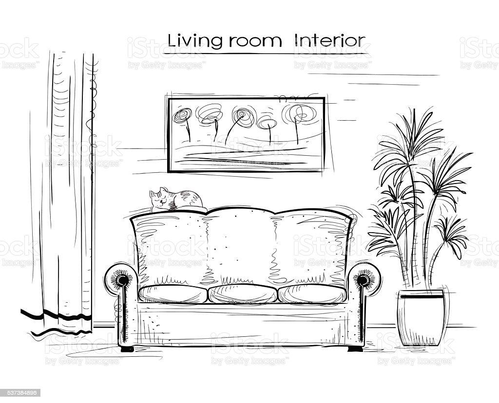 Skizzenhafte innen abbildung eines wohnzimmer vektor hand for Couch zeichnen