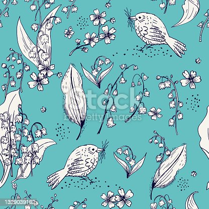 Sketchy Lily Of The Valley Seamess Background Pattern