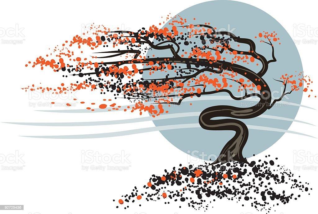 Discreti piccolo albero autunno-vento - illustrazione arte vettoriale